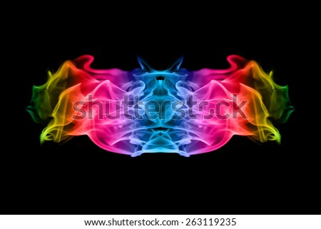 abstract colorful Fire flame on black background - stock photo