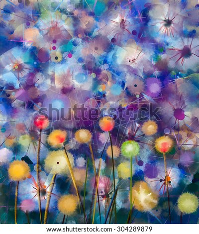 Abstract colorful floral, watercolor painting. Hand paint Yellow and Red flowers in soft color on green-blue color background. Spring flower seasonal nature background - stock photo