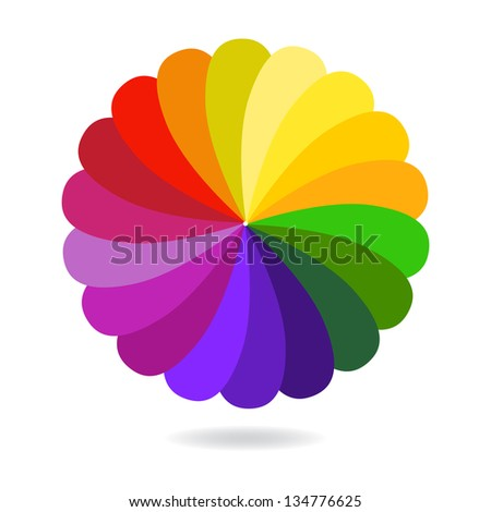Abstract Colorful Flower Isolated on White Background
