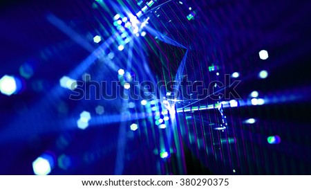 Abstract colorful fractal background. Pixels and lights with blurry light explosions. - stock photo