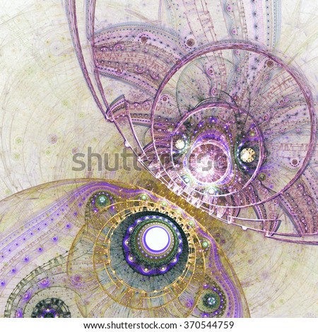 Abstract colorful fractal clockwork, digital artwork for creative graphic design - stock photo
