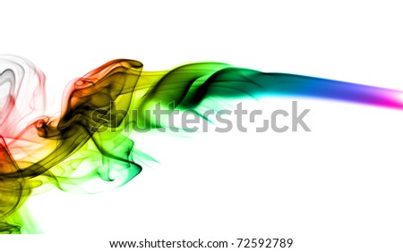 Abstract colorful fume shape over the white background - stock photo