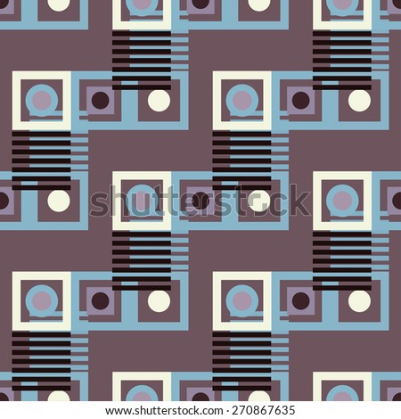 Abstract colorful geometric seamless pattern. Circles, squares, stripes, lines. Repeating background texture. Cloth design. Wallpaper, wrapping - stock photo