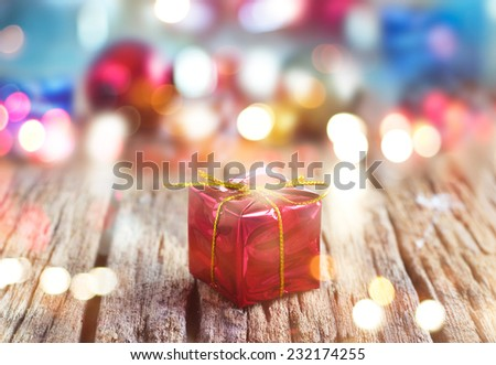 Abstract colorful gift boxes on wooden background, soft and blur concept  - stock photo