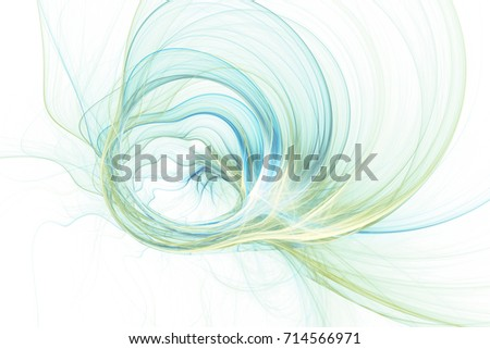 Abstract colorful green and blue swirly shapes on white background. Fantasy chaotic fractal texture. 3D rendering.