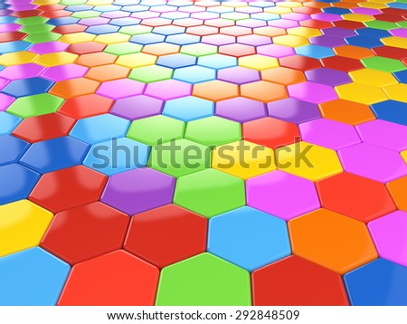 Abstract colorful hexagonal structure background - child kits decoration - stock photo