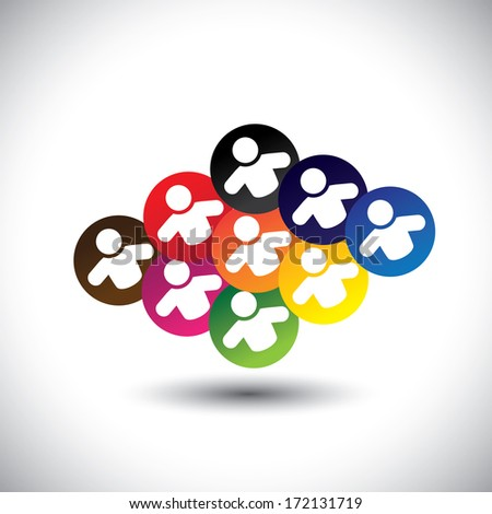 Abstract colorful icons of children or kids playing games in school. This graphic illustration also represents concept of employees or workers meeting, team work & unity, office colleagues & staff - stock photo