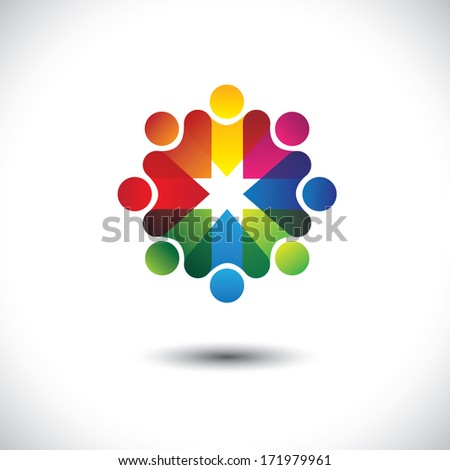 Abstract colorful icons of friends & friendship in circle. This graphic also represents concept of party people having fun, workers union, employees meetings, kids or children playing, etc - stock photo