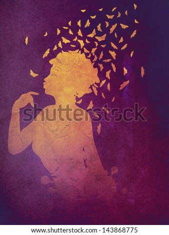 Abstract colorful illustration of a female profile with butterflies. - stock photo