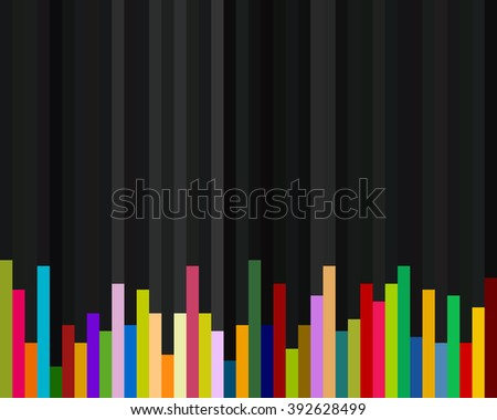 Abstract colorful infographics bars with black background for reporting purpose - stock photo