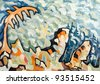 Abstract colorful landscape - original painting oil on wood - stock photo