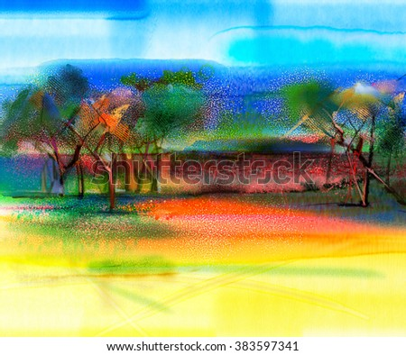 Abstract colorful landscape painting. Oil painting mix watercolor technic on paper. Semi- abstract image of tree and field in yellow and red with blue sky. Spring season nature background
