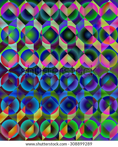 Abstract colorful low poly background in op art style - stock photo