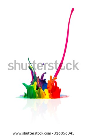 abstract Colorful paint splashing  - stock photo
