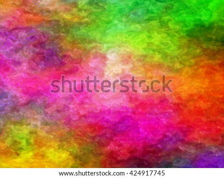 abstract colorful painting -  brushstrokes with thick paint in shades of pink, purple, green, yellow and red - stock photo