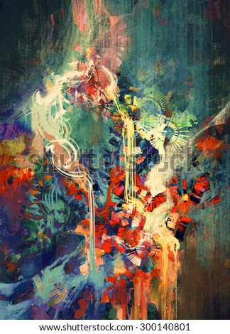 abstract colorful painting,melted coloring elements - stock photo