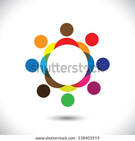 Abstract colorful people symbols in circle. This icon illustration can also represent concept of children playing together or friendship or team building or group activity,etc - stock photo