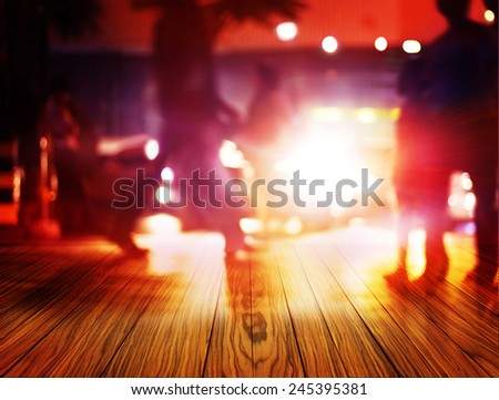abstract colorful people walk on wood floor at night in the city, soft and blur concept - stock photo