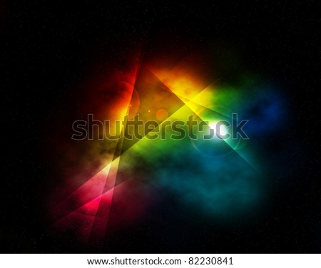 Abstract Colorful Rainbow Fantasy Lights Background. - stock photo