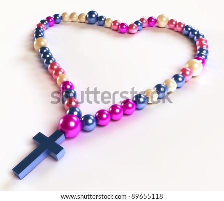 Abstract colorful rosary beads over white background - stock photo