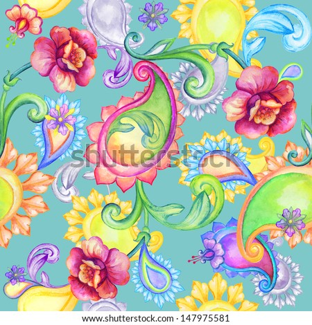 abstract colorful seamless paisley pattern, watercolor drawing - stock photo