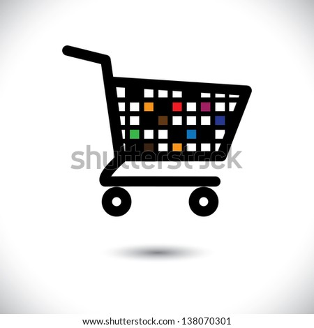 abstract colorful shopping cart icon or symbol-  graphic. This illustration shows design of an empty trolley symbolic of online e-commerce based shopping cart used in internet websites - stock photo