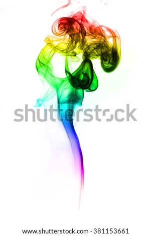 Abstract colorful smoke have color red purple blue green and yellow on white background - stock photo