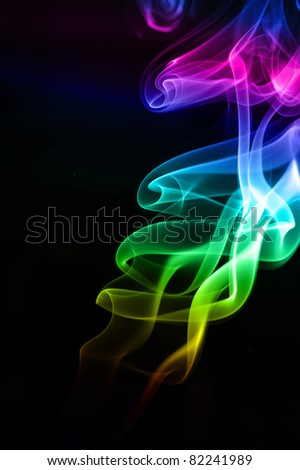 abstract colorful smoke , isolated on black background - stock photo
