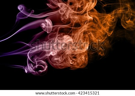 Abstract colorful smoke on black background, smoke background,colorful ink background,Violet,purple, Orange, beautiful smoke - stock photo