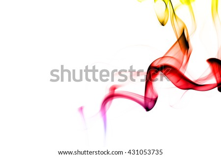 Abstract colorful smoke on white background from the incense sticks