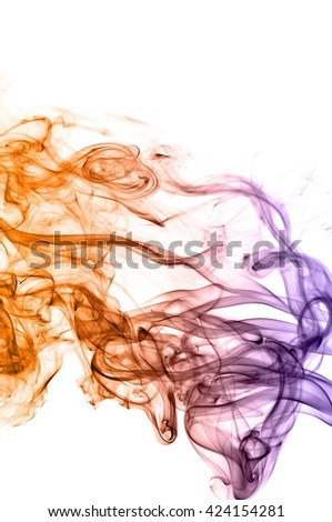 Abstract colorful smoke on white background, smoke background,colorful ink background,Violet,purple, Orange, beautiful smoke