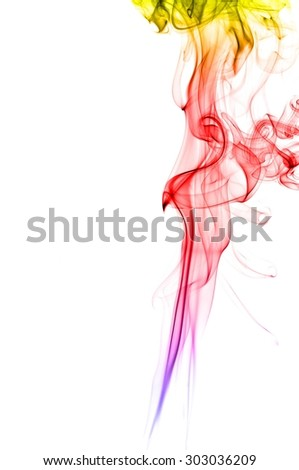 Abstract colorful smoke on white background, smoke background,colorful ink background,yellow,blue,red - stock photo