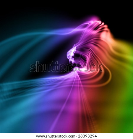 abstract colorful smooth wavy neon background in perspective - stock photo