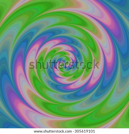 Abstract colorful spiral background in green, blue and pink spectrum