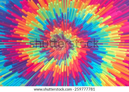 Abstract Colorful Spiral Extrusion - stock photo