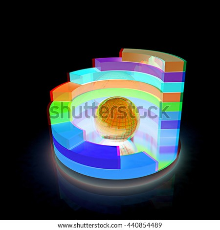 Abstract colorful structure with bal in the center on a black background. 3D illustration. Anaglyph. View with red/cyan glasses to see in 3D. - stock photo