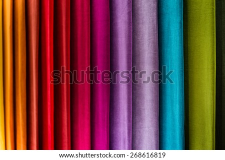 Abstract colorful textile background with selective focus - stock photo