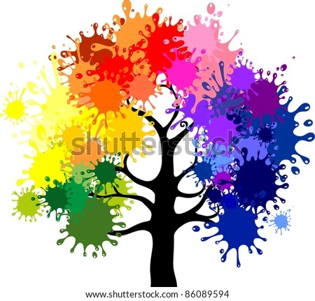 Abstract colorful tree. - stock photo