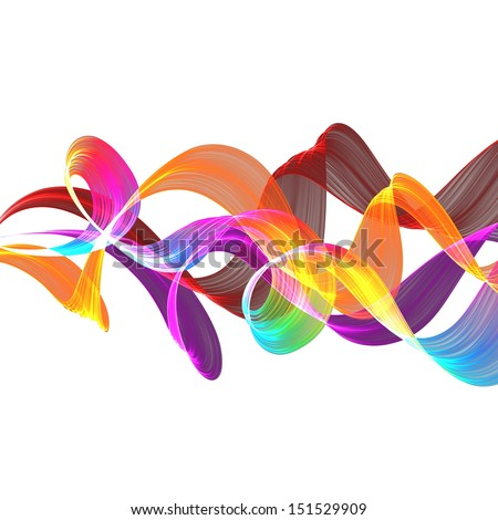 abstract colorful twisted waves  - stock photo