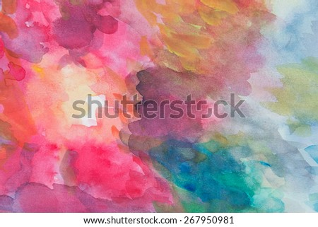 Abstract colorful water color art background hand paint on white background - stock photo