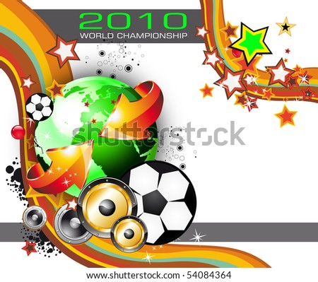 Abstract Colorful World Footbal Championship 2010 Background for Party Flyers - stock photo