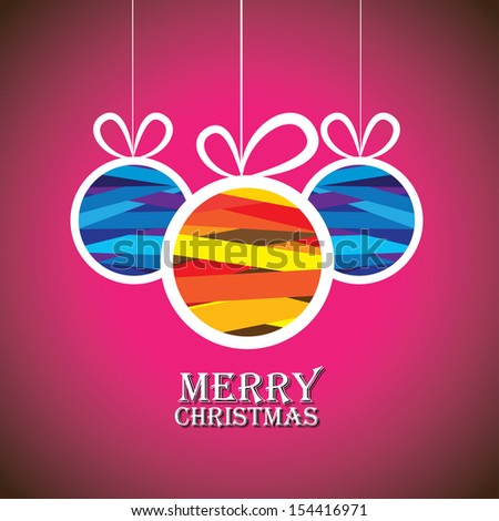 Abstract colorful xmas bauble balls on pink background. This graphic illustration shows three hanging balls decorated on xmas ( feliz navidad ) eve - stock photo