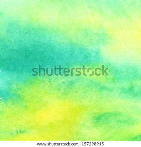 Abstract colorful yellow-green watercolor background.  - stock photo