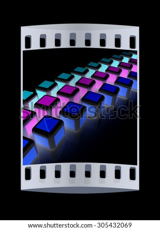 Abstract colorfull blocks 3d. The film strip