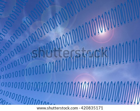 Abstract coloring skies gradients background with visual lens flare effects,binary code numbers one and zero