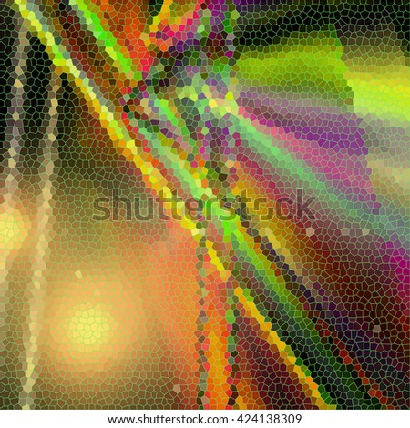 Abstract coloring sunrise background with visual lens flare and stained glass  effects - stock photo