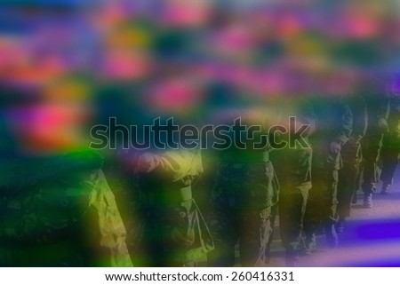 Abstract colouful background blur of soldiers marching - stock photo