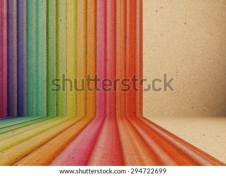 abstract colourful rainbow line retro background with space for text - stock photo