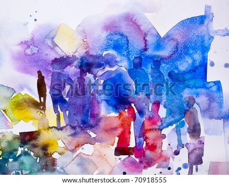 Abstract community Water Color - stock photo