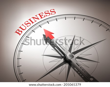 abstract compass needle pointing the word business in red and white tones - stock photo